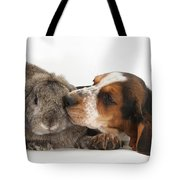 Puppy And Rabbt Tote Bag