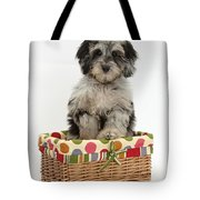 Puppy In A Basket Tote Bag
