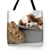Rabbit And Spaniel Pups Tote Bag
