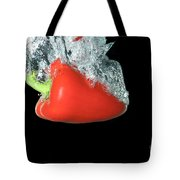 Red Pepper Falling Into Water Tote Bag