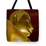 Red Roofed Hall With Ornaments And A Tall Golden Buddha Statue Tote Bag