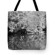 Reflections On The North Fork River In Black And White Tote Bag