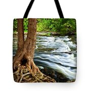 River Through Woods Tote Bag