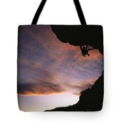 Rock Climbing Out A Steep Roof In Sinks Tote Bag