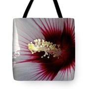 Ruby And White Hibiscus Tote Bag