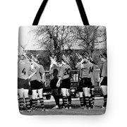 Rugby Distortion Tote Bag by Michael Ringwalt