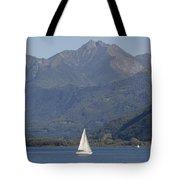 Sailing Boat And Mountain Tote Bag
