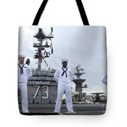 Sailors Man The Rails Aboard Tote Bag