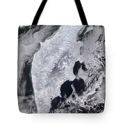 Satellite View Of Kamchatka Peninsula Tote Bag