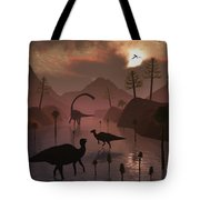 Sauropod And Duckbill Dinosaurs Feed Tote Bag
