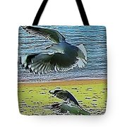 Sea Gulls In Flight  Tote Bag