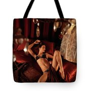 Sexy Young Woman Lying In Bed Tote Bag