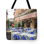 Sidewalk Cafe In Italy Tote Bag
