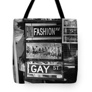 Signs Of New York In Black And White Tote Bag by Rob Hans