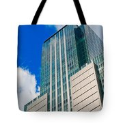Skyscraper Front View With Blue Sky Tote Bag