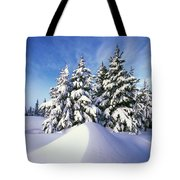 Snow-covered Pine Trees Tote Bag