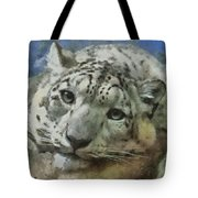 Snow Leopard Painterly Tote Bag
