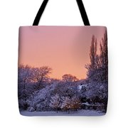 Snow Scene At Sunrise Tote Bag