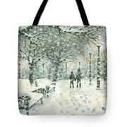 Snowing In The Park Tote Bag