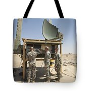 Soldiers Checking A Radar System Tote Bag