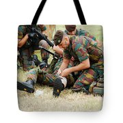 Soldiers Of A Belgian Infantry Unit Tote Bag