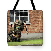 Soldiers Of The Belgian Army Helping Tote Bag