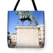 Statue Of King Charles IIi In Madrid Tote Bag