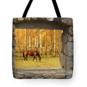 Stone Window View And Beautiful Horse Tote Bag