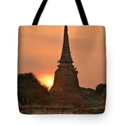 Stupa Chedi Of A Wat In Ayutthaya Thailand Tote Bag