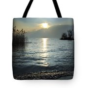 Sunset Over An Alpine Lake Tote Bag