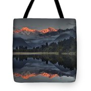 Sunset Reflection Of Lake Matheson Tote Bag by Colin Monteath