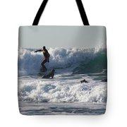 Surfers At Porthtowan Cornwall Tote Bag