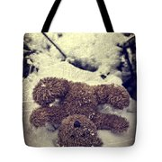 Teddy In Snow Tote Bag