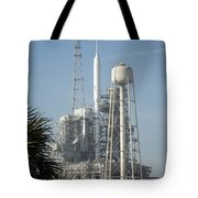 The Ares I-x Rocket Is Seen Tote Bag