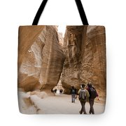 The Slot Canyons Leading Into Petra Tote Bag