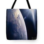 The Sun Shining On Planet Earth Tote Bag