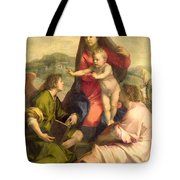 The Virgin And Child With A Saint And An Angel Tote Bag by Andrea del Sarto