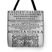 Title Page Of Galileos Book Tote Bag