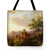 Travellers On A Path In An Extensive Rhineland Landscape Tote Bag
