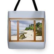 Tropical White Sand Beach Paradise Window Scenic View Tote Bag