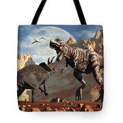 Tyrannosaurus Rex And Triceratops Meet Tote Bag