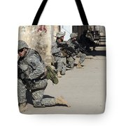 U.s. Army Soldiers Providing Security Tote Bag by Stocktrek Images