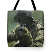 U.s. Marine During Combat Operations Tote Bag