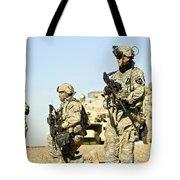 U.s. Soldiers Conduct A Combat Patrol Tote Bag