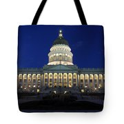 Utah Capitol Building At Twilight Tote Bag