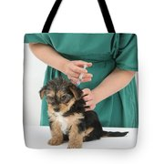Vet Giving Pup Its Primary Vaccination Tote Bag