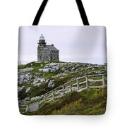 View Of Lighthouse, Rose Blanche Tote Bag