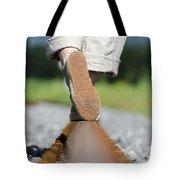 Walking On Railroad Tracks Tote Bag