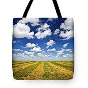 Wheat Farm Field At Harvest In Saskatchewan Tote Bag by Elena Elisseeva