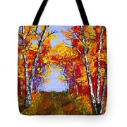 White Birch Tree Abstract Painting In Autumn Tote Bag